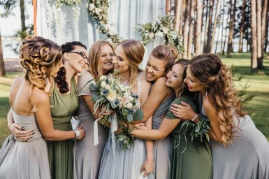 Misty grey and sage green bridesmaid dresses | rustic boho wedding | fabmood.com #weddingdress #bridesmaids #bridesmaiddresses