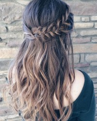 Beautiful braid Half up and half down hairstyle for
