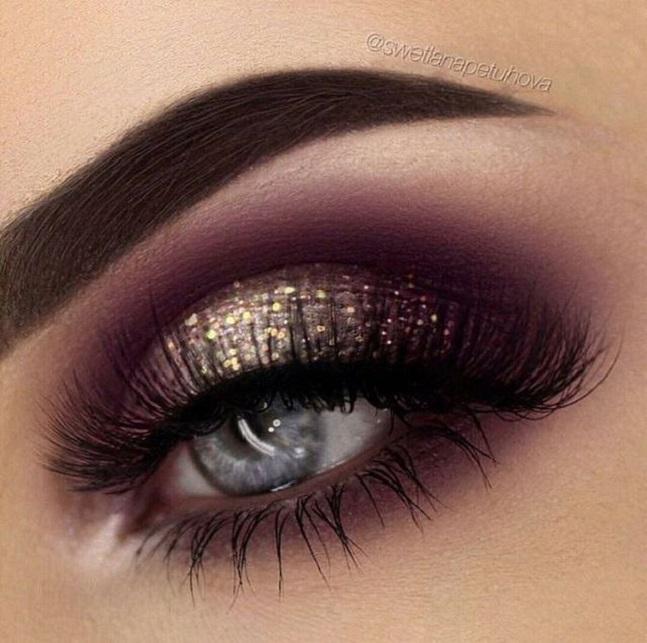 Purple And Gold Glitter Eye Makeup 1