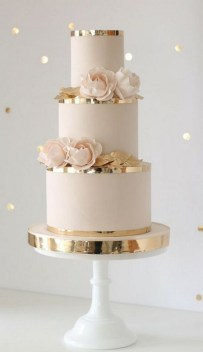 blush wedding cake , Three tier wedding cake