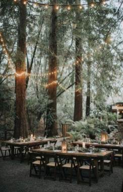 Romantic woodland wedding reception