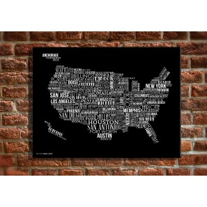 16 X 20 Canvas Wall Art USA Map With Black Text