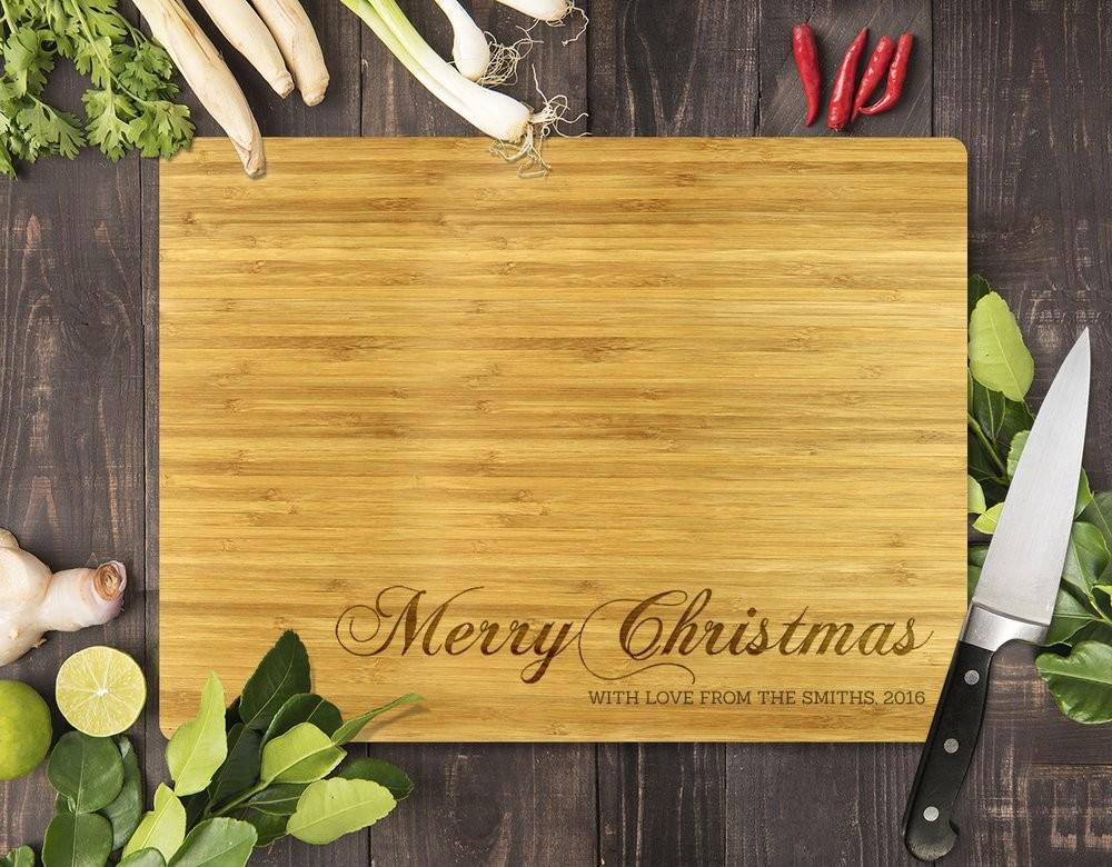 Merry Christmas Bamboo Cutting Board