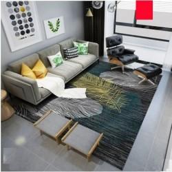 tapis salon 3d motif plume jaune fond sombre 160x230 cm www fabric mada com