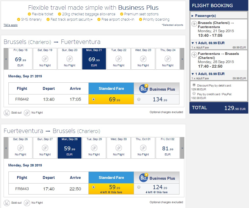 Ryanair - Bruxelles Charleroi - Fuerteventura Insulele Canare
