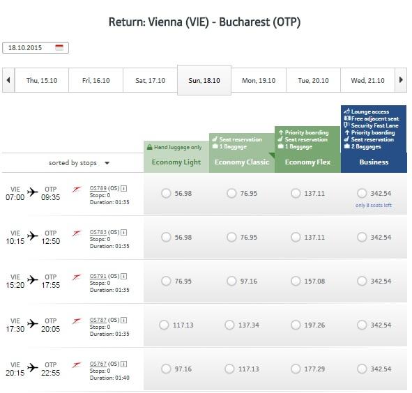 Viena - Bucureşti Austrian Airlines