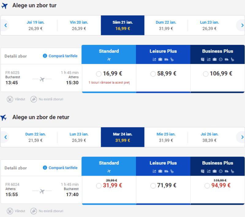 Zboruri București-Atena-București