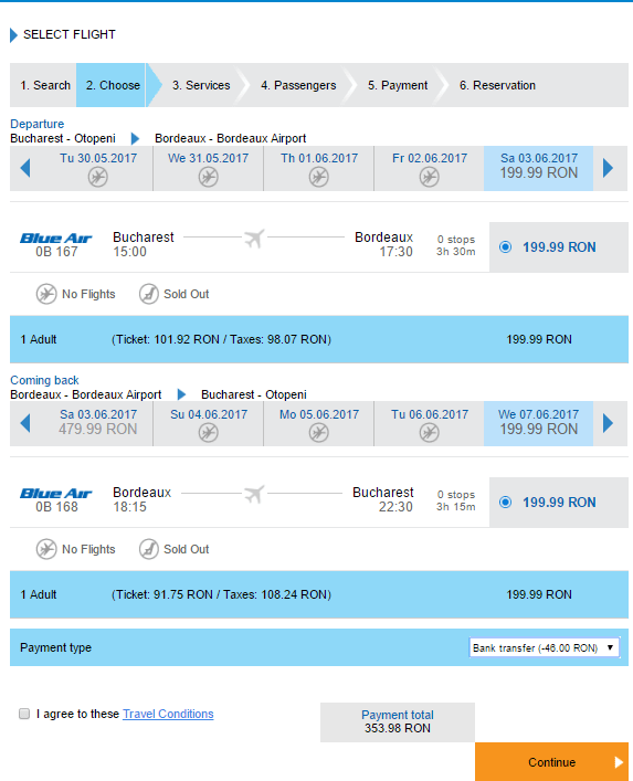 Zboruri București-Bordeaux-București