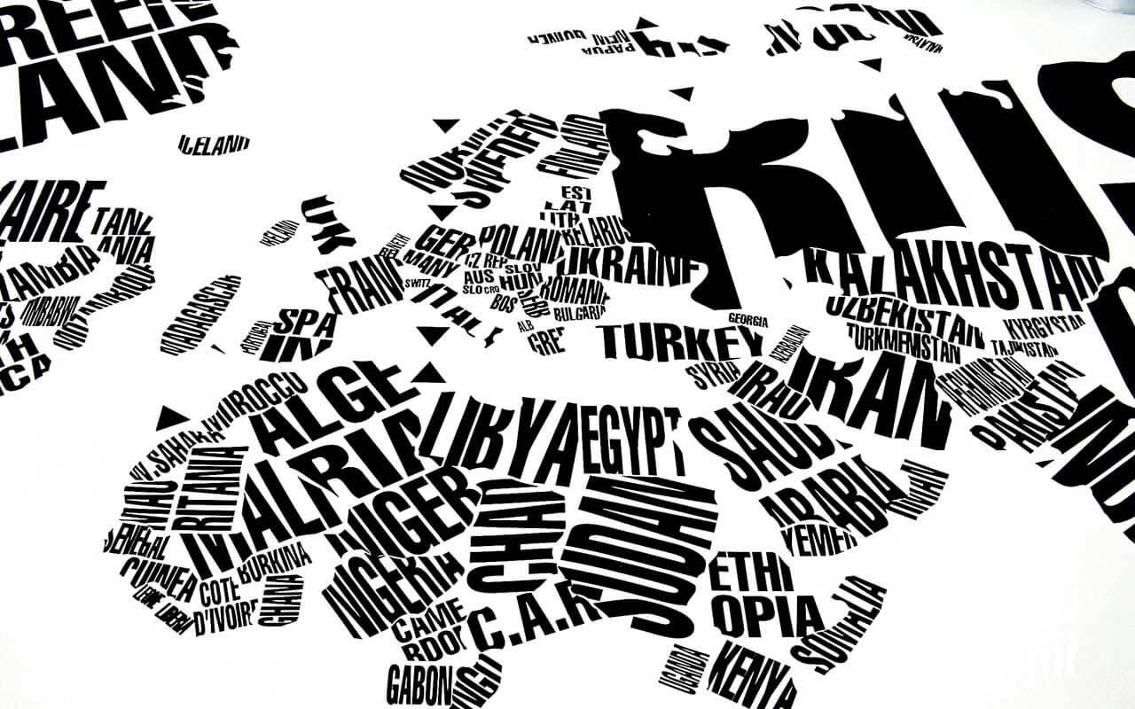 Calcomanía Decorativa Mapa del mundo formado de nombres