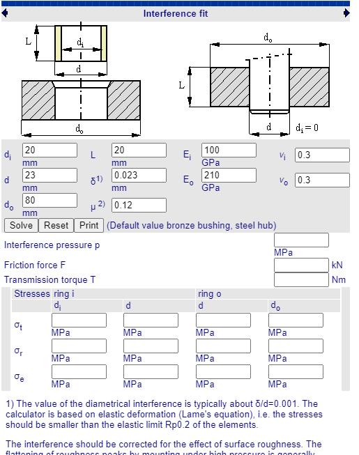 Fabricadoprojeto calculos Mecanicos Online Montagem por pressao