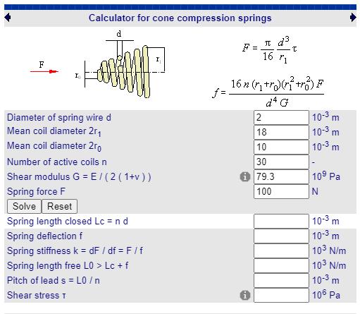 fabricadoprojeto calculos Mecanicos Online Mola compressao conica