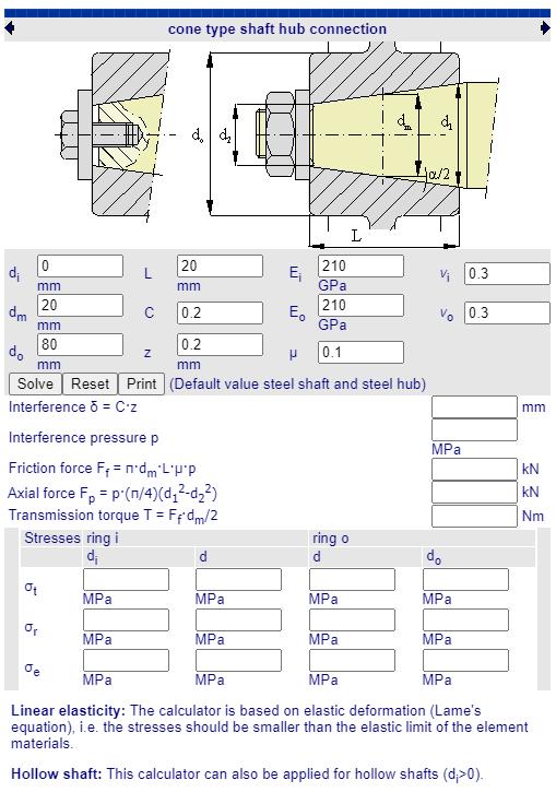 fabricadoprojeto calculos Mecanicos Online montagem eixo e cubo junta conica