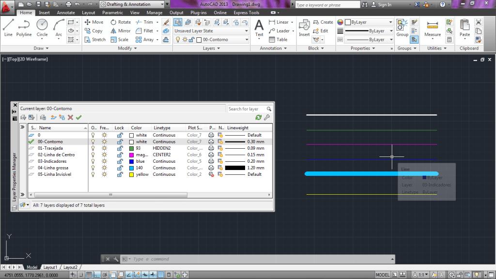 Rotina lisp criacao layers linhas FP1