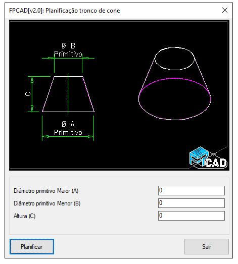 FPCAD Lisp Planificação unfold Cone