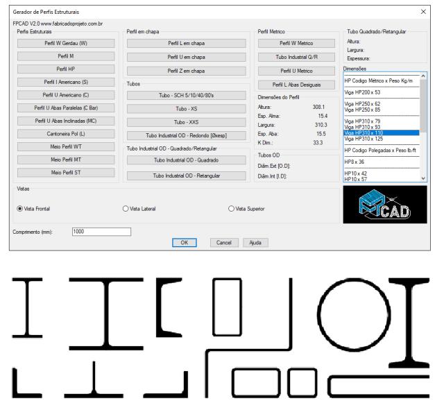 [FPCAD V2.0] Gerador de perfis estruturais