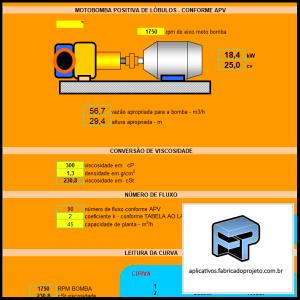 Aplicativos FP N3: Planilha para calculo de motobomba positiva de lóbulos