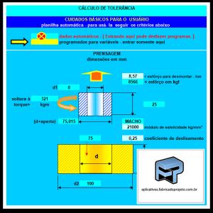 Aplicativos FP N3: Planilha para calculo montagem por interferência ou pressão