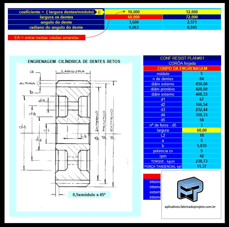 AFP.03.10401 planilha calculo engrenagem dentes retos geometria 1
