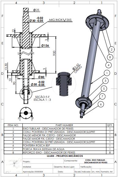 Projeto Mecanico Eixo Descamador de peixes Fabricadoprojeto