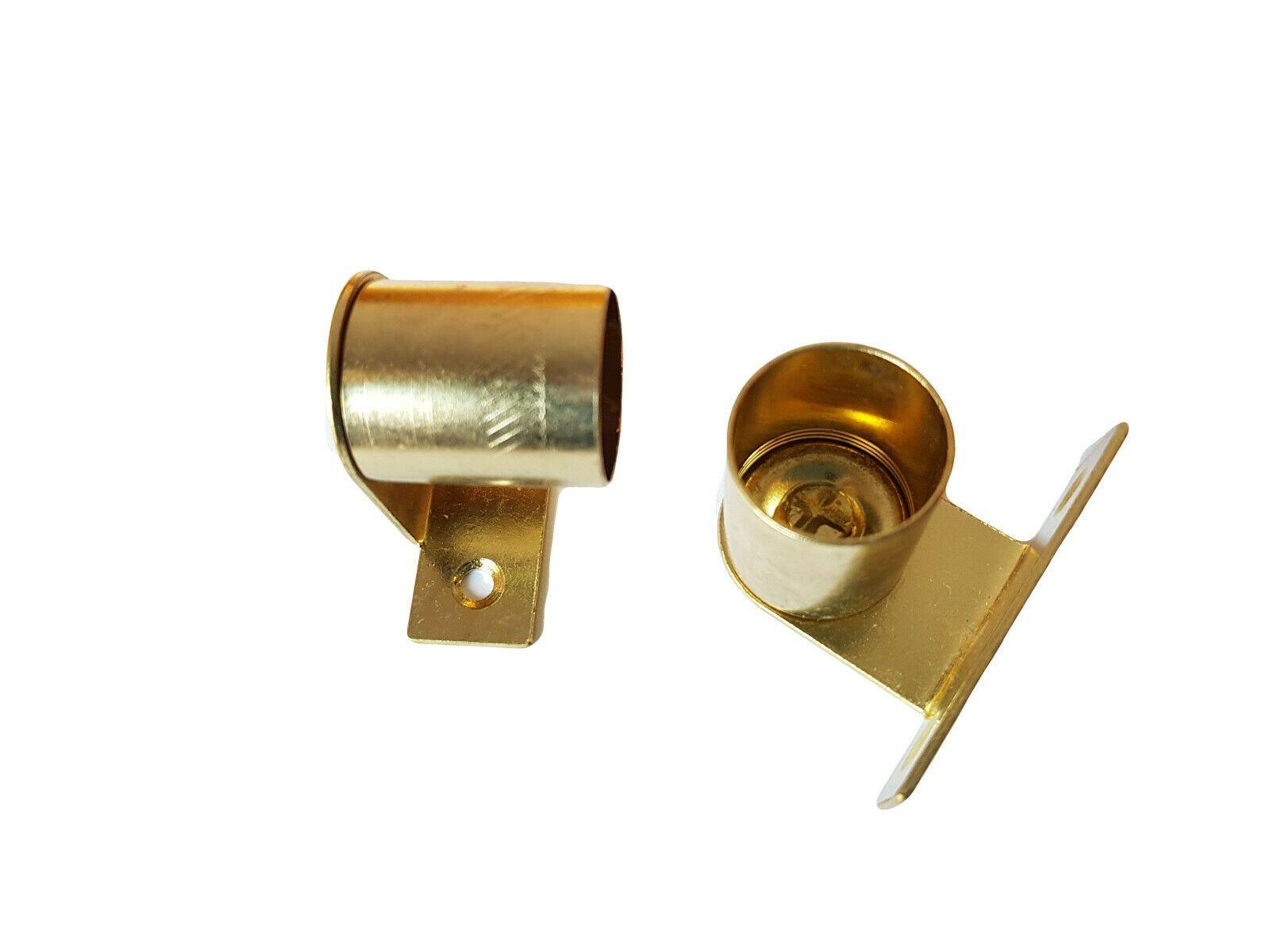 2 brass cranked curtain rod recess brackets 20mm pole support brackets net voile