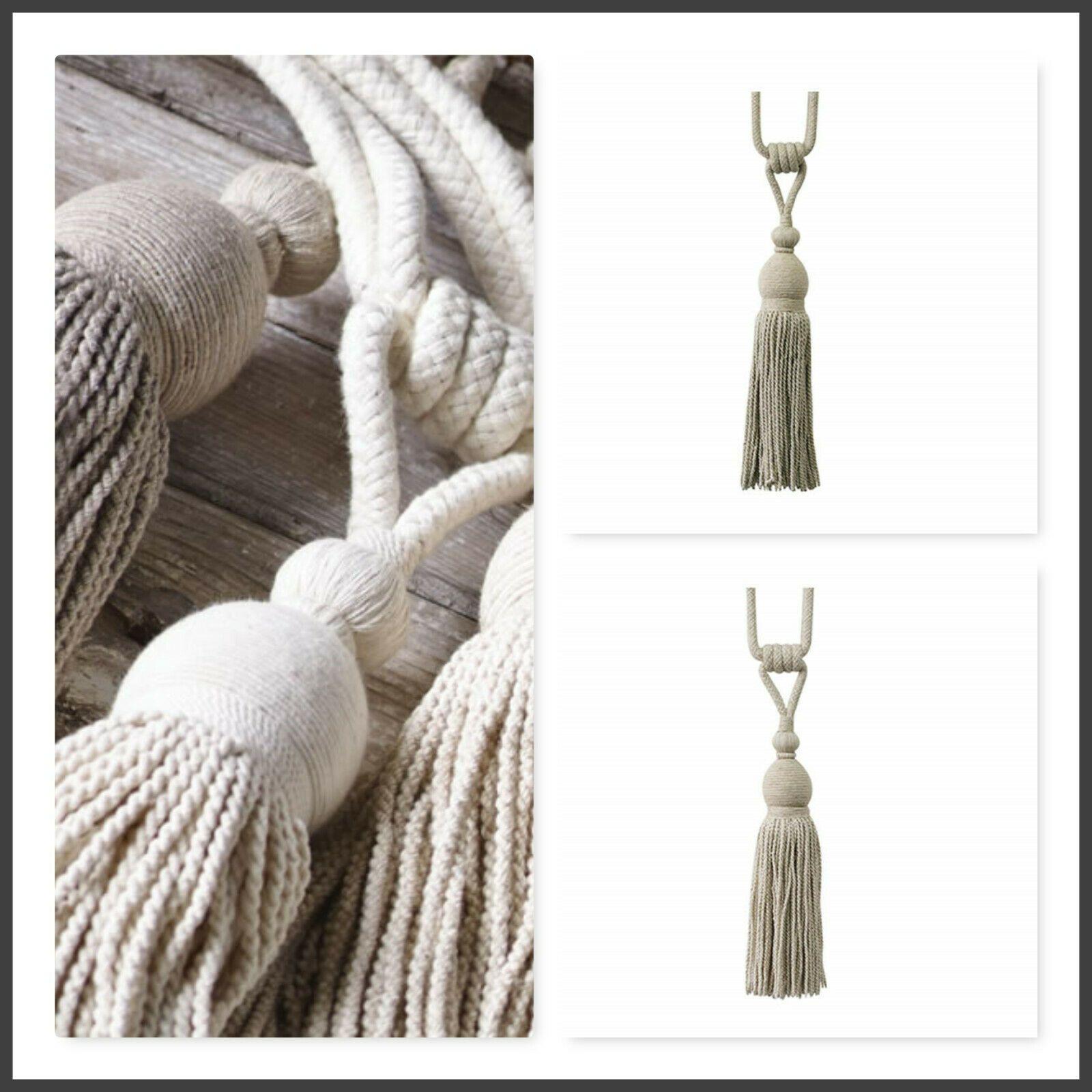 2 padstow curtain tiebacks driftwood shabby natural large fabric tie backs