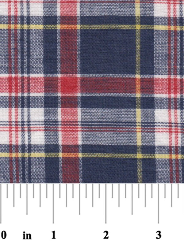 Madras Plaid Fabric - Orange Yellow And Blue