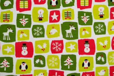 Cotton Spandex Kids Holiday Green And Red Snowmans And Snowflakes