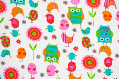 Cotton Spandex Kids Owls And Birds