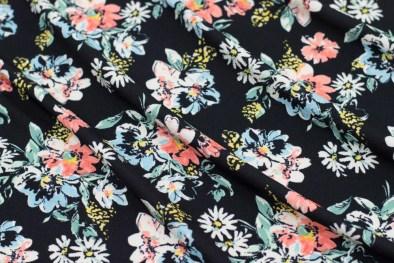 FS518 Black Base Floral Print Dress Making Jersey Knit Stretch Liverpool Fabric