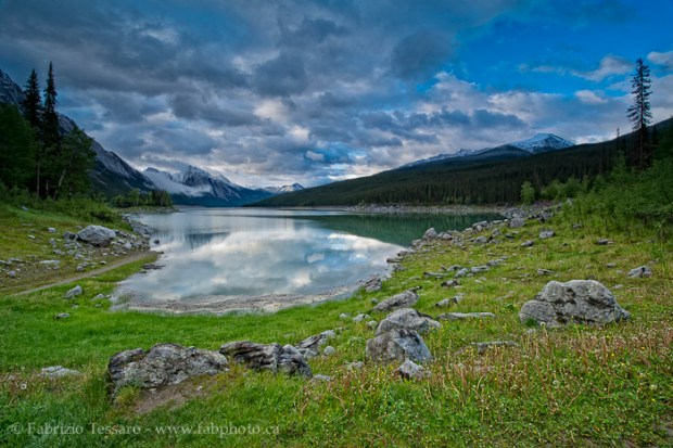 MEDICINE LAKE in July, Jasper National Park, Alberta, Canada