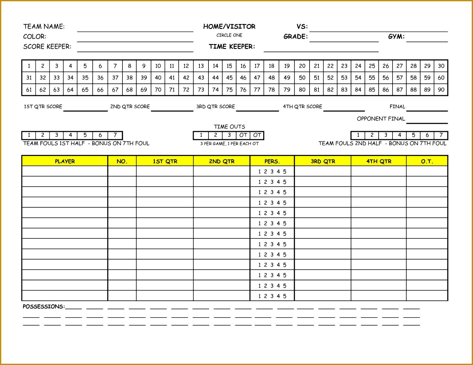 5 Basketball Score Sheet Template Excel