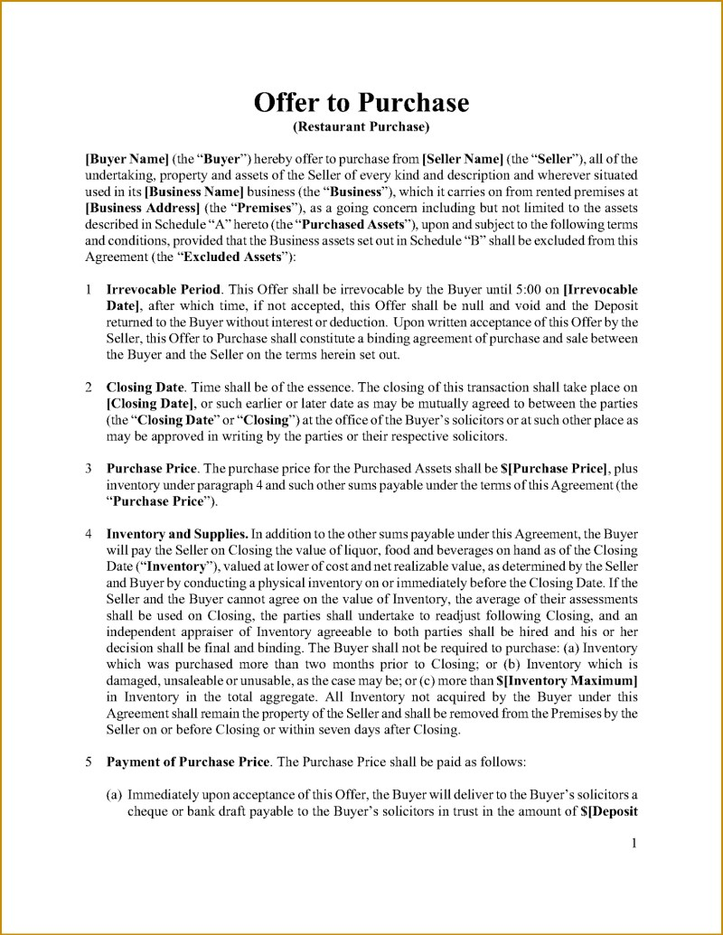 Purchase offer letter for a business cekharga 7 business purchase offer letter template fabtemplatez friedricerecipe Image collections