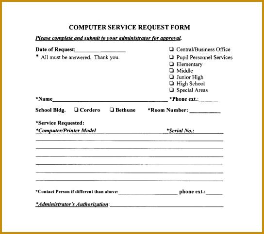 6 It Service Request form Template   FabTemplatez