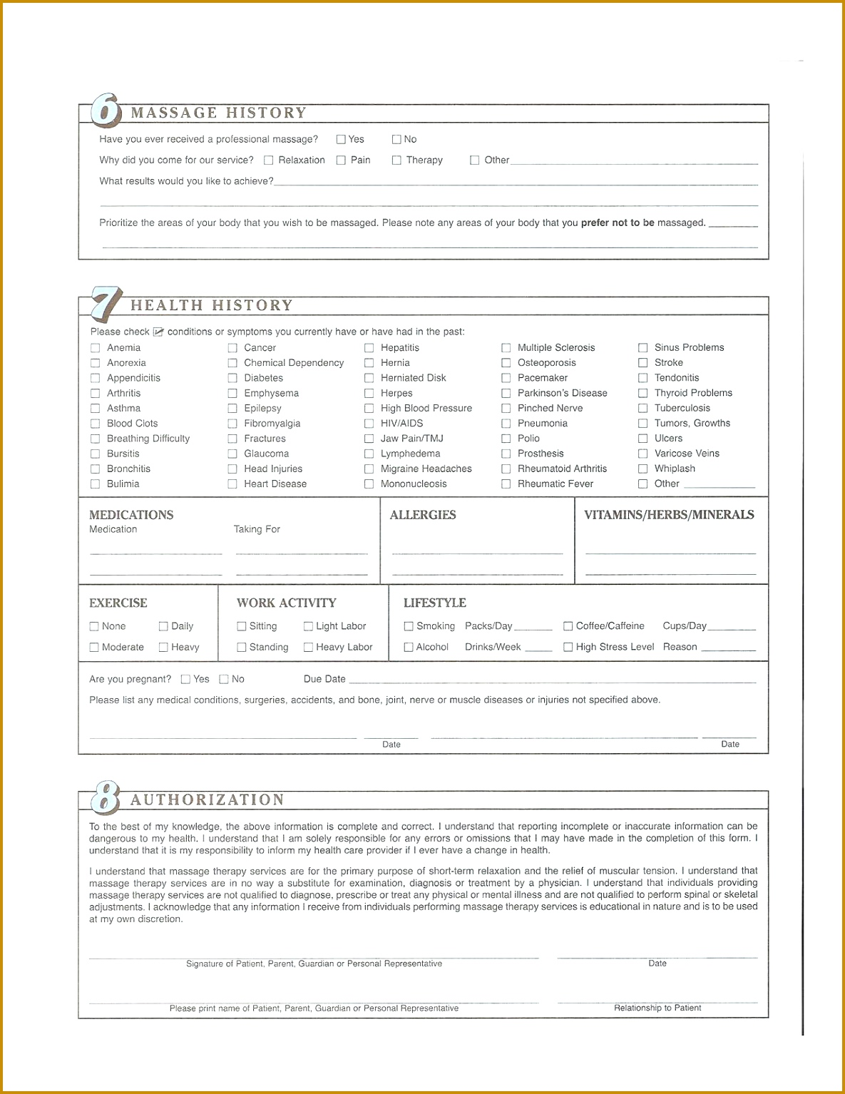 3 Massage Intake Form Template Free