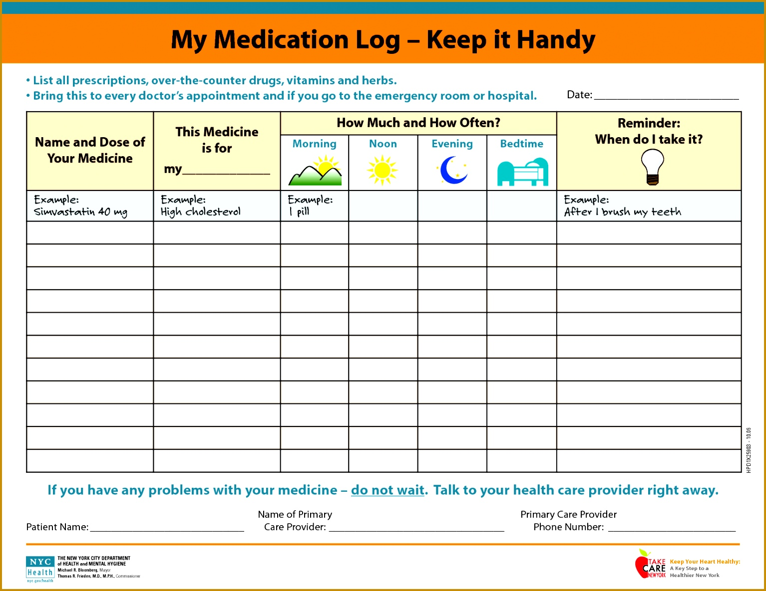 Medication Schedule Spreadsheet