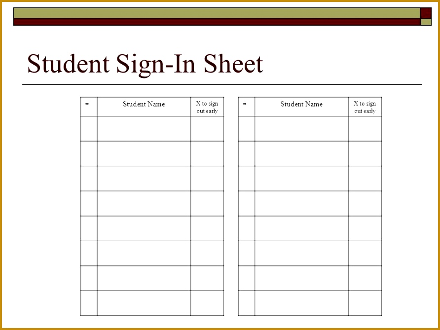 Student Sign In Sheet ]   Student Sign In Sheet, Student Sign In ...