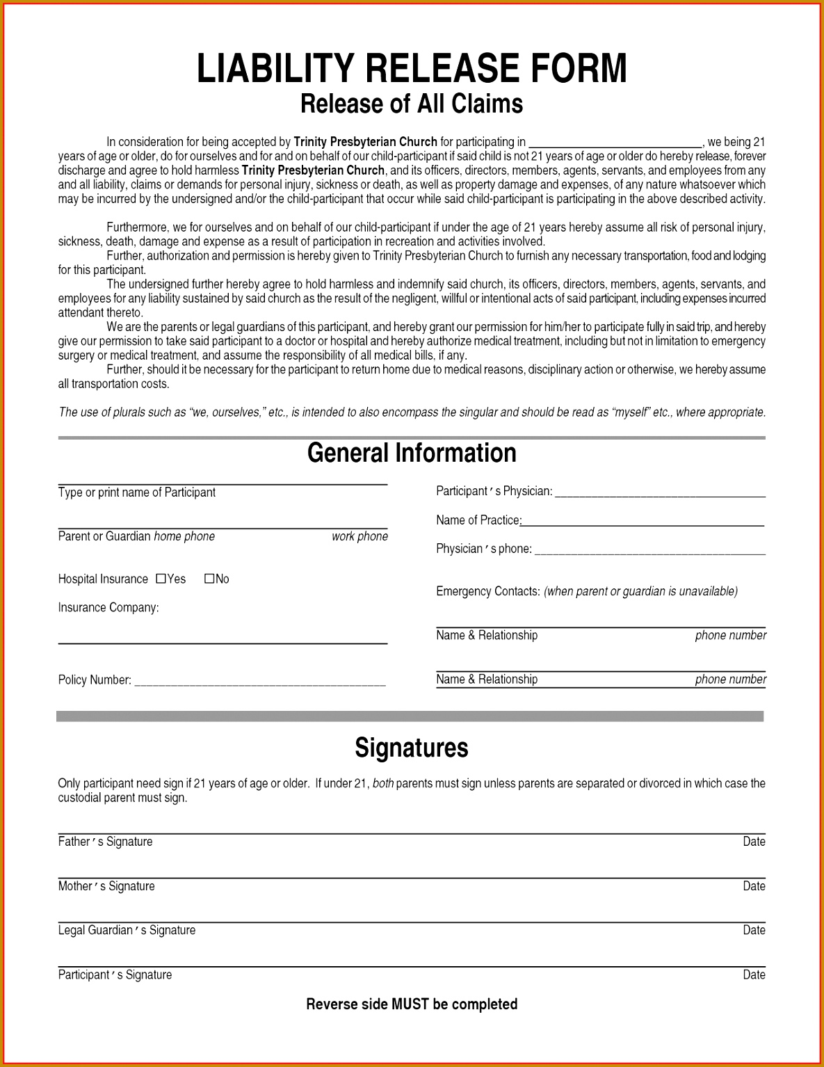 Waiver Form Template For Sports 53163 Sports Liability Waiver Form  Template Printable Survey Social Work