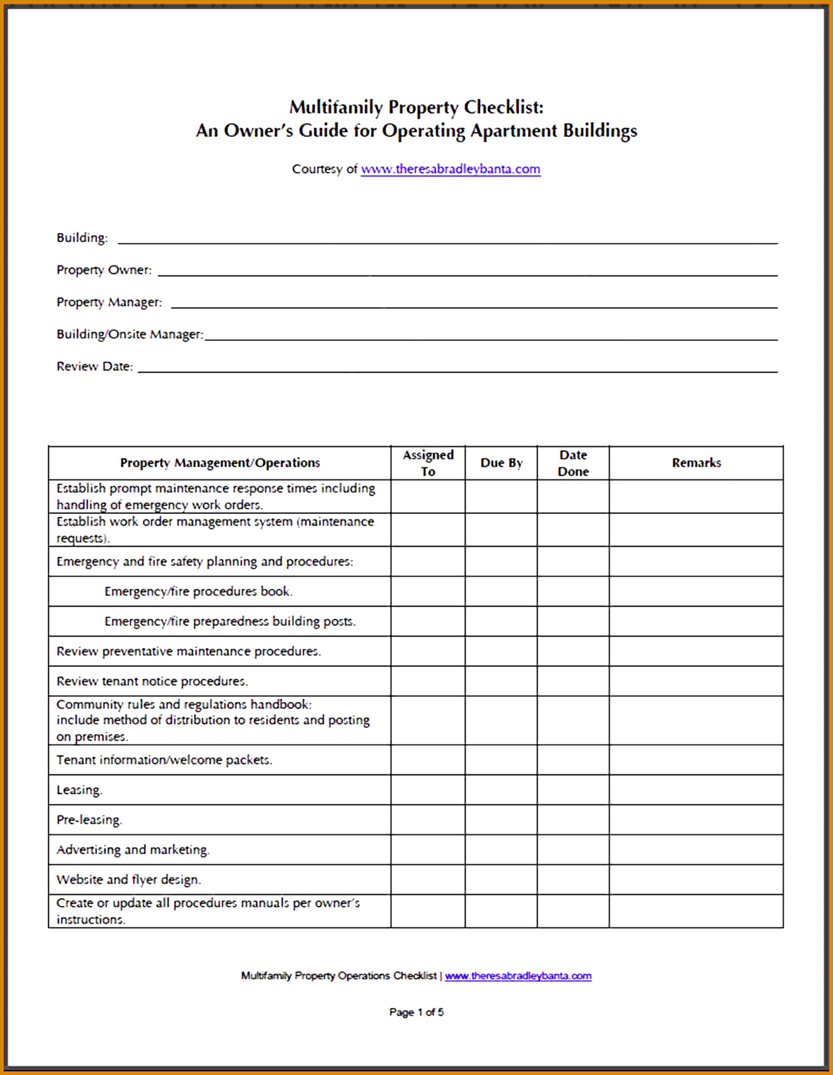 7 Facility Maintenance Checklist Template