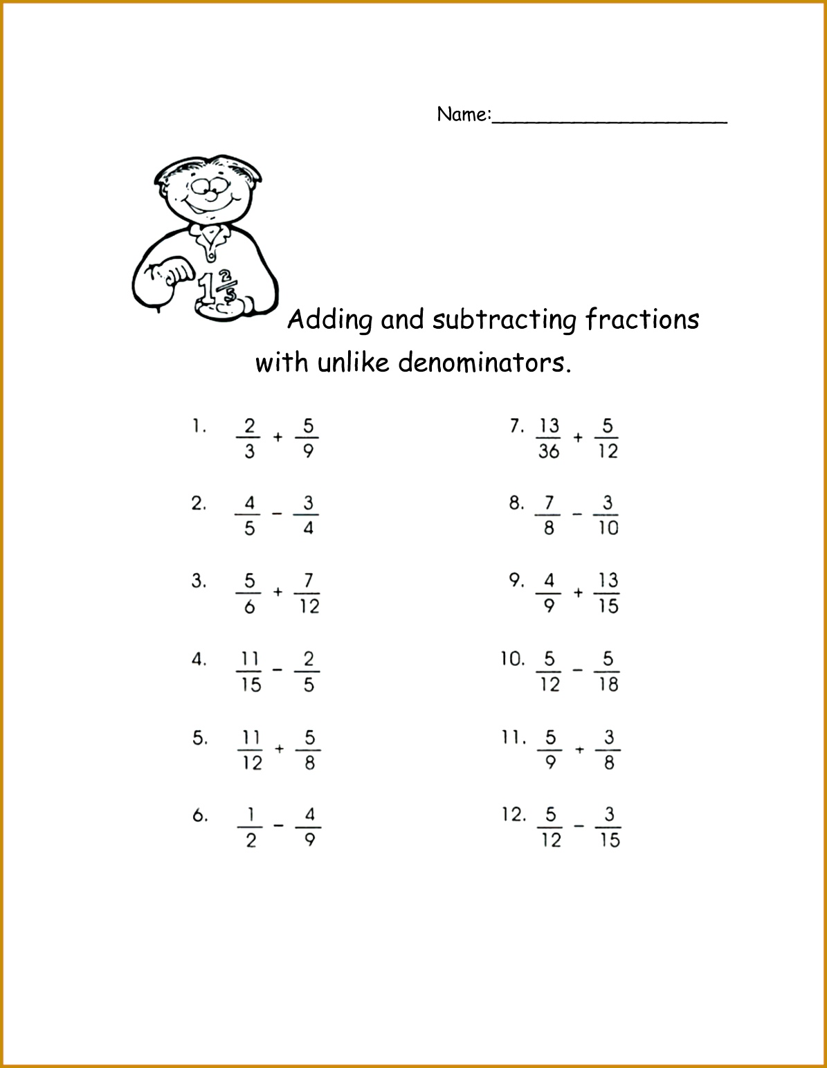 7 Adding And Subtracting Fractions With Unlike