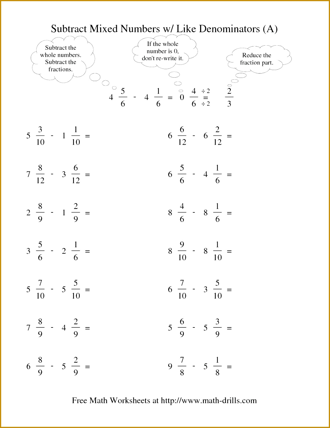 7 Adding And Subtracting Fractions With Unlike Denominators Worksheets