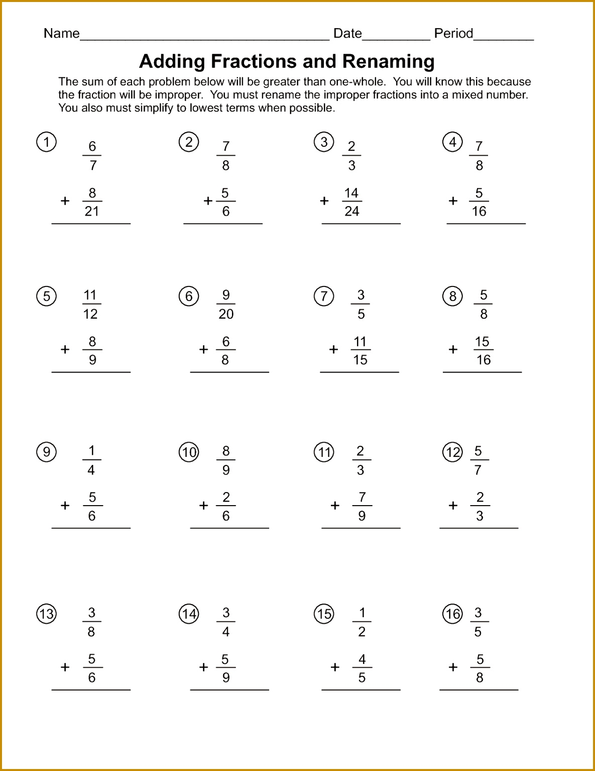 Worksheet On Addition Of Fractions