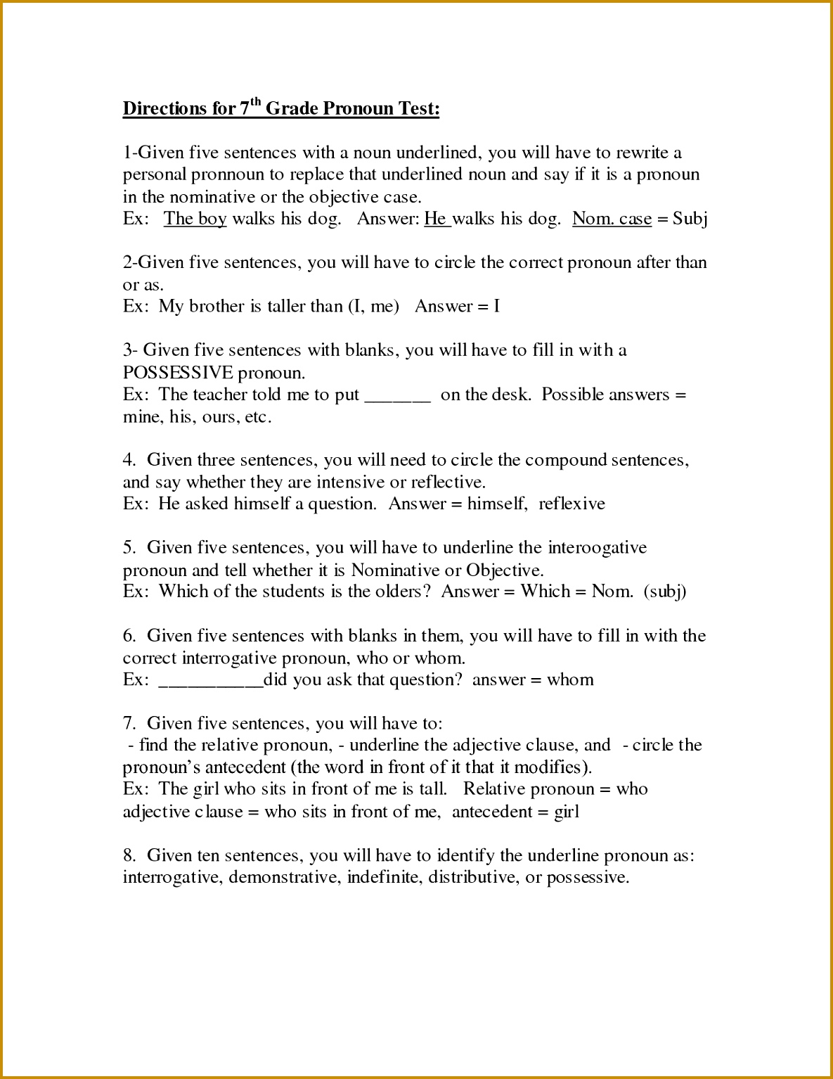 6 Adjective Worksheets