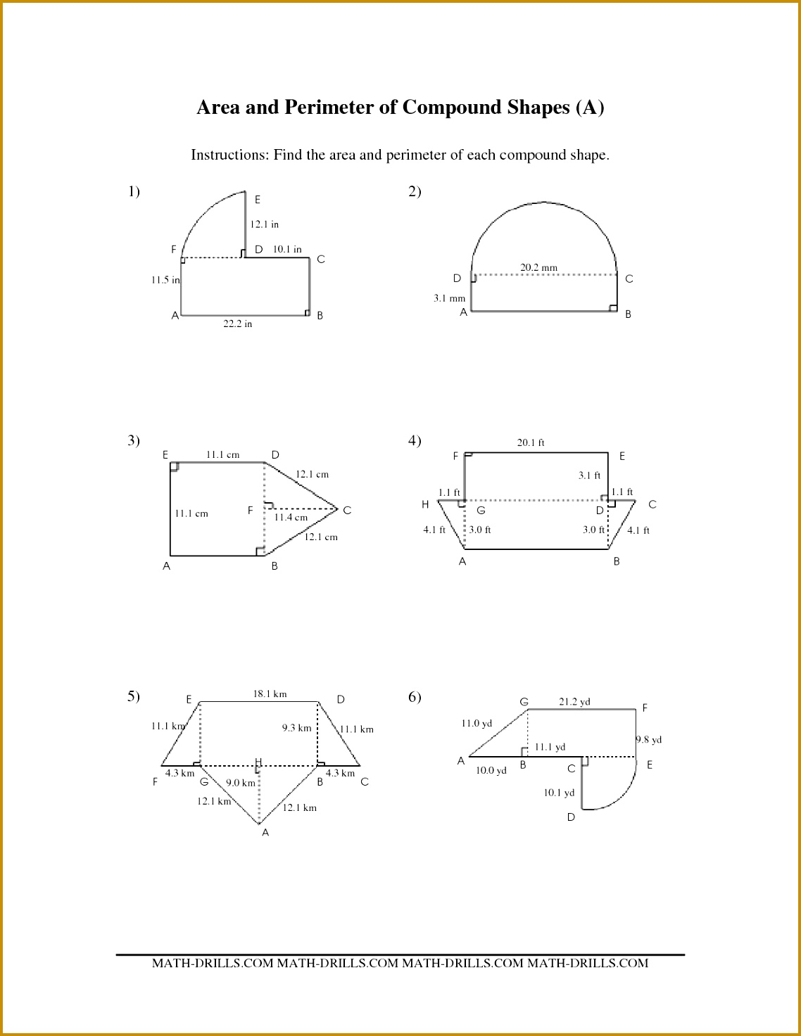 Compound Shapes Area Worksheet Grade 6