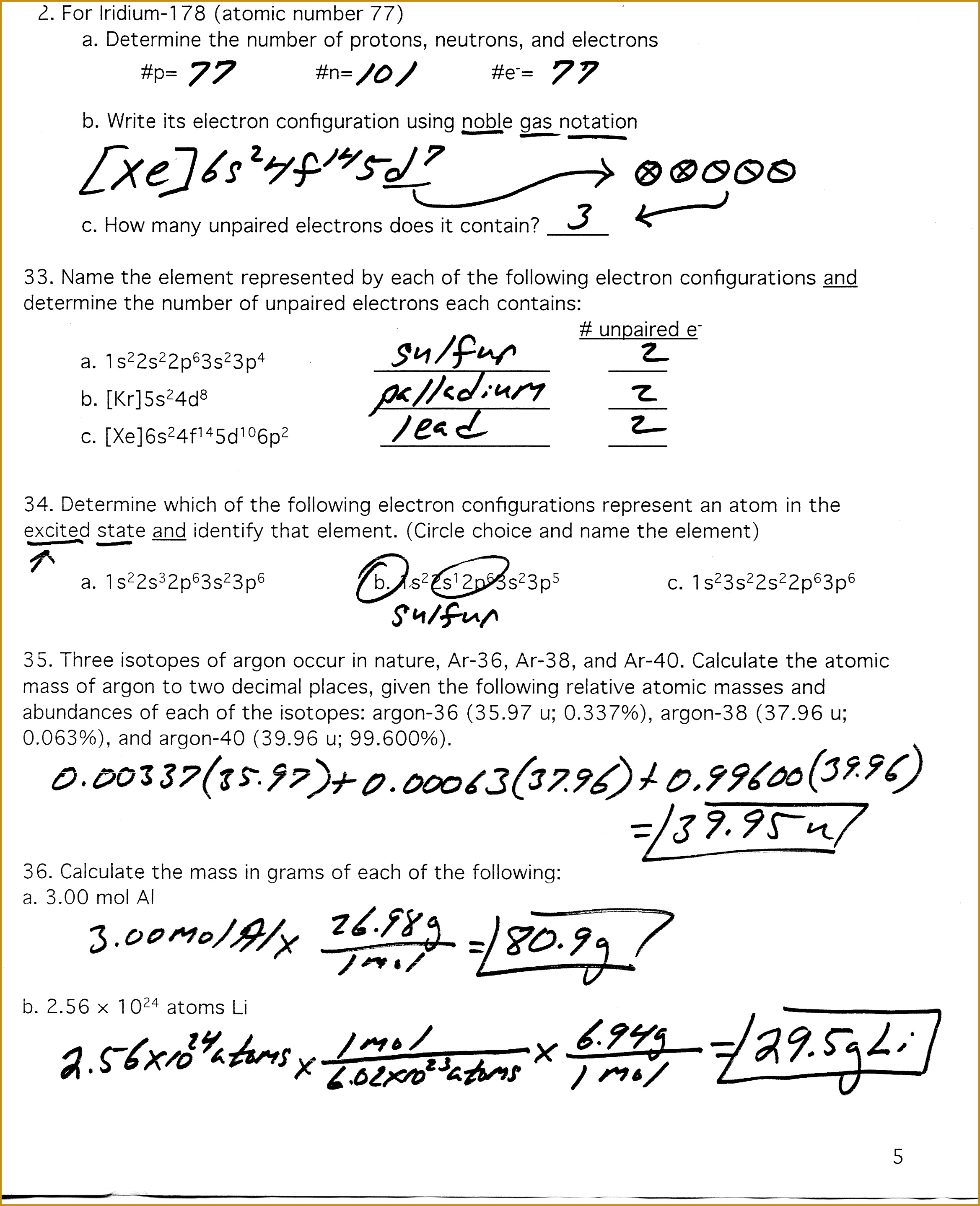 Calculating Average Atomic Mass Worksheet Answers