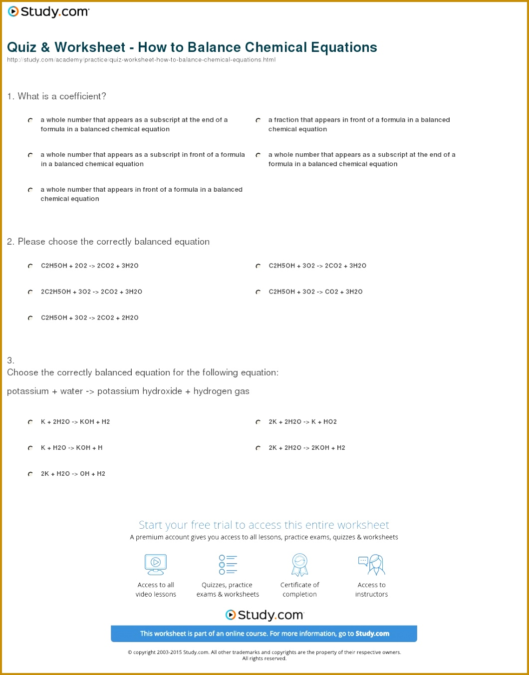 5 Balancing Equations Practice Worksheet