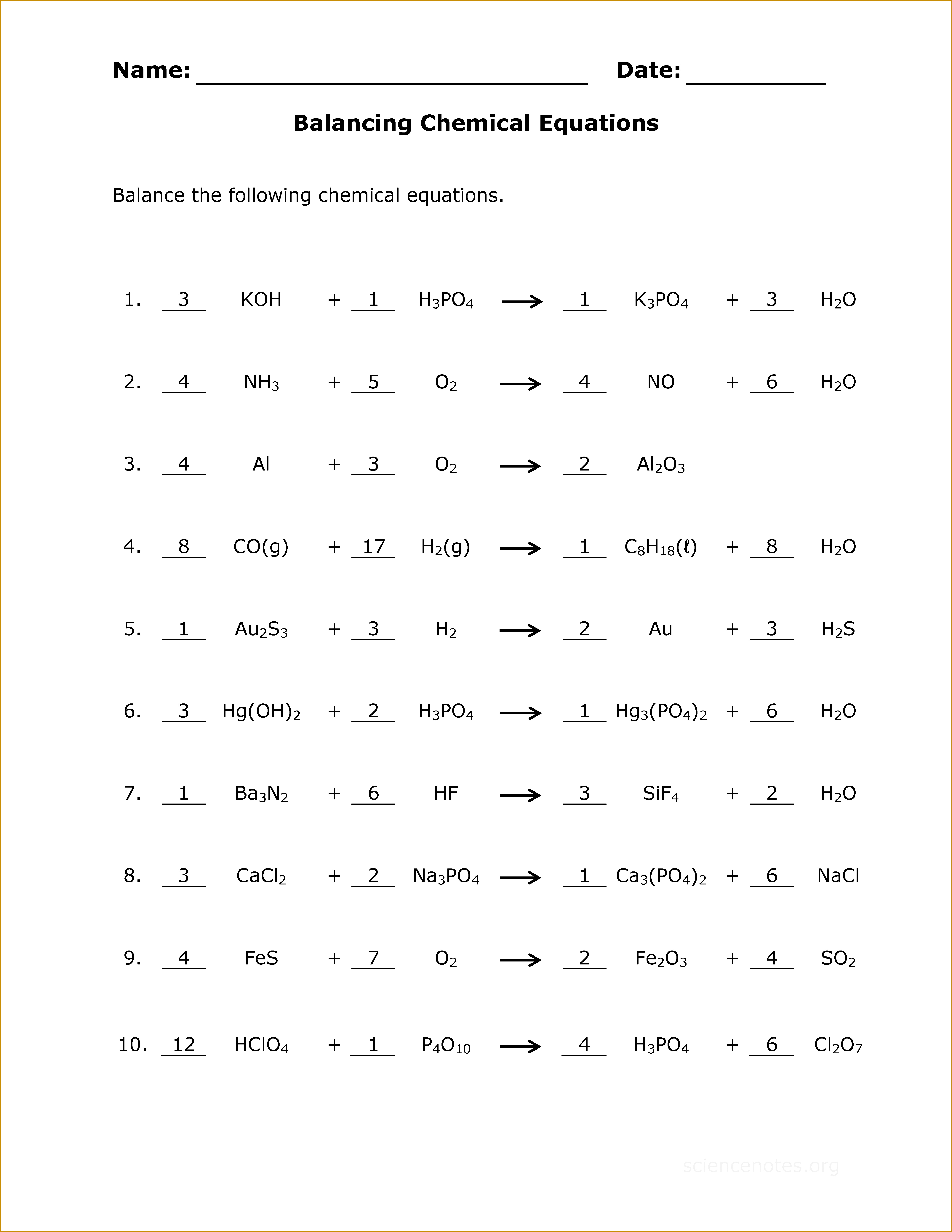 4 Chemical Reactions Worksheet