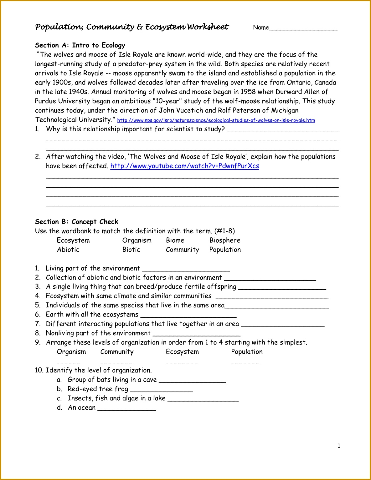 7 Classification Of Organisms Worksheet