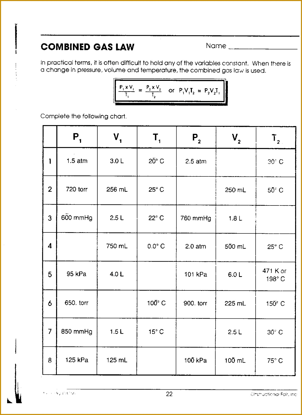 3 Combined Gas Law Worksheet