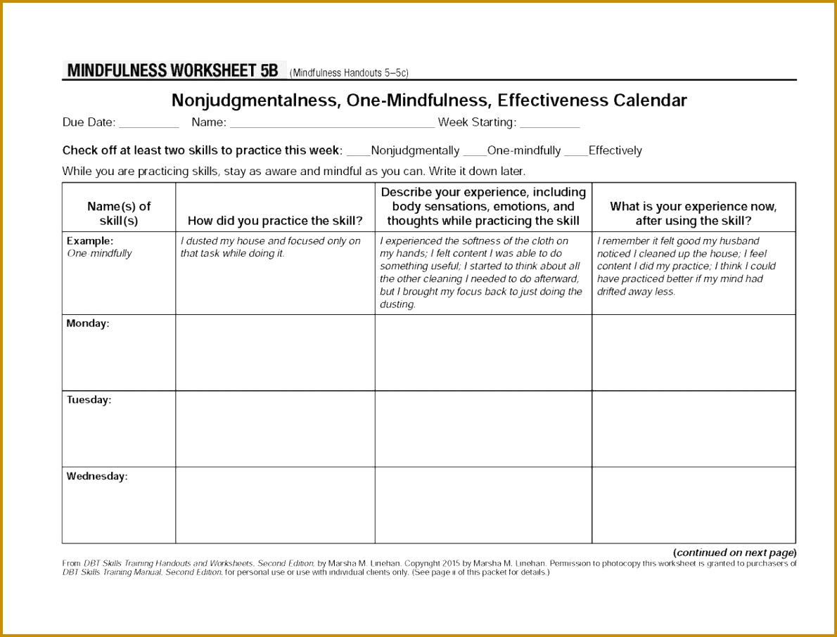 Dbt Worksheets Radical Acceptance Worksheet Amp Coping