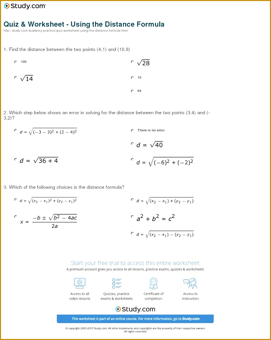 6 Distance And Midpoint Worksheet